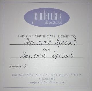 Jennifer Clark Skincare Gift Certificate